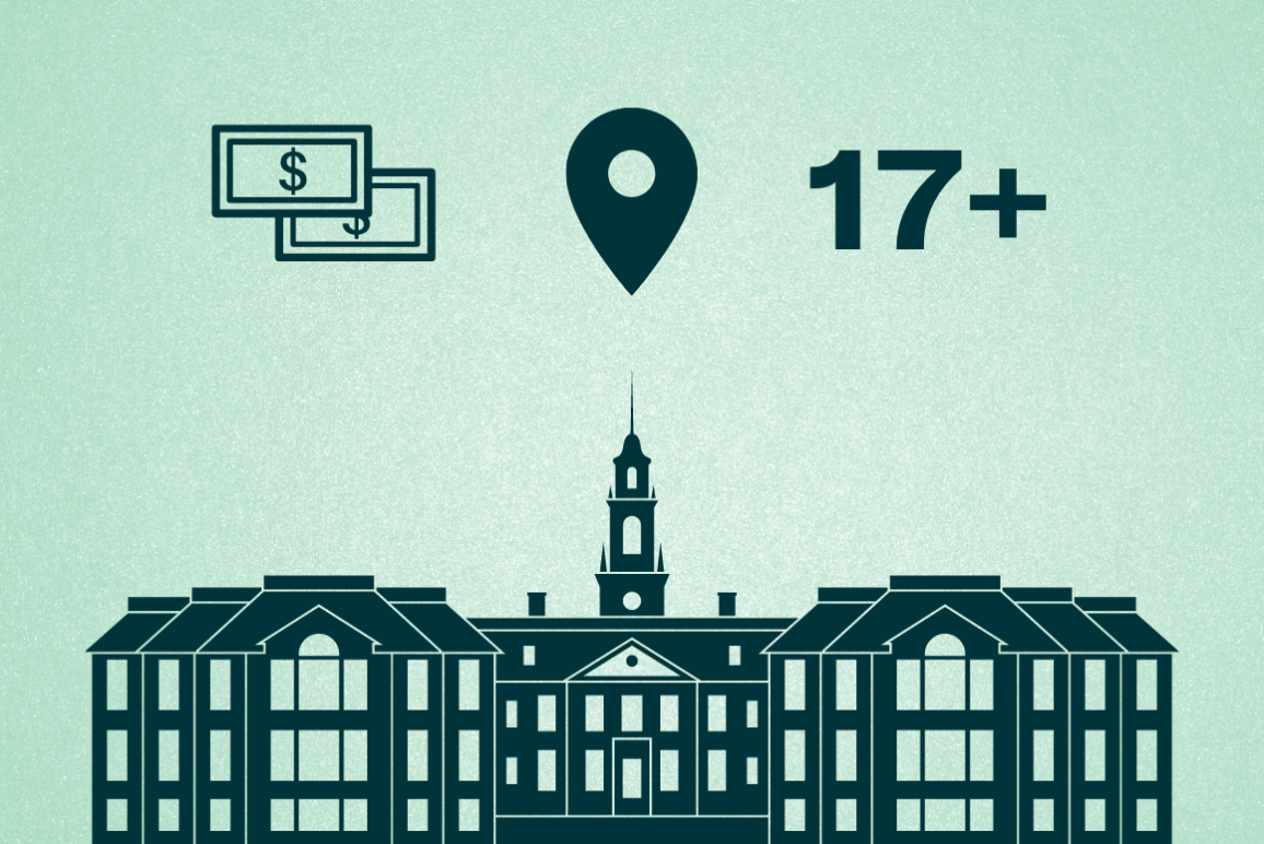 """A graphic of the Delaware State Capitol building with three icons hovering over it: cash, a location pin, and the number """"17+."""""""